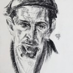 Visage d'interné, dessin d'Olaf Christinsen, 1940 (collection de l'Association des Philatélistes du Pays-d'Aix.