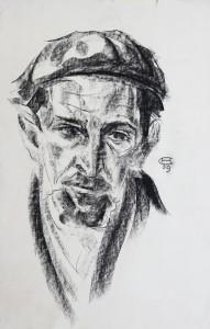 Visage d'interné, dessin d'Olaf Christinsen, 1940 (collection de l'Association des Philatélistes du Pays-d'Aix.